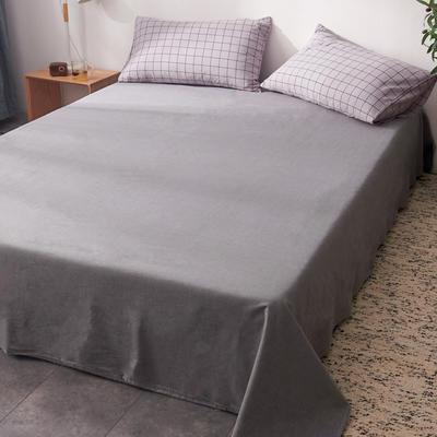 2019新款水洗棉单床单全棉色织无印良品同步新款花色 240cmx250cm 格纹-浅紫
