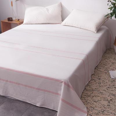 2019新款水洗棉单床单全棉色织无印良品同步新款花色 160cmx240cm 宽双线-粉白条