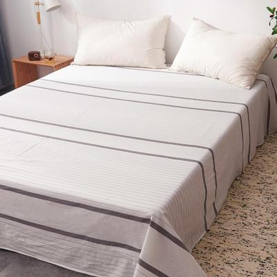2019新款水洗棉单床单全棉色织无印良品同步新款花色 160cmx240cm 宽双线-灰白条