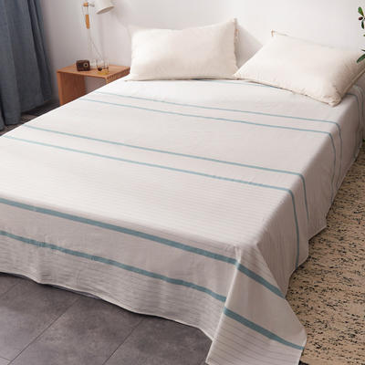 2019新款水洗棉单床单全棉色织无印良品同步新款花色 160cmx240cm 宽双线-绿白条