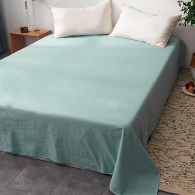 2019新款水洗棉单床单全棉色织无印良品同步新款花色 240cmx250cm 宽双线-浅绿