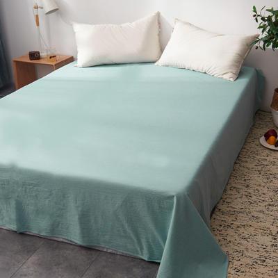 2019新款水洗棉单床单全棉色织无印良品同步新款花色 240cmx250cm 绿白细条