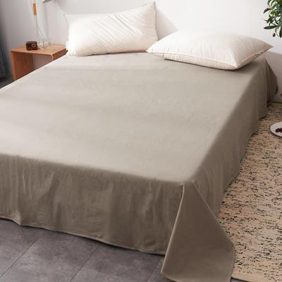 2019新款水洗棉单床单全棉色织无印良品同步新款花色 240cmx250cm 细条纹-驼色