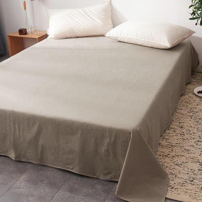 2019新款水洗棉单床单全棉色织无印良品同步新款花色 240cmx250cm 小格纹-驼色