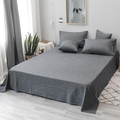 2019新款水洗棉单床单全棉色织无印良品同步新款花色 240cmx250cm 中条纹-深灰色
