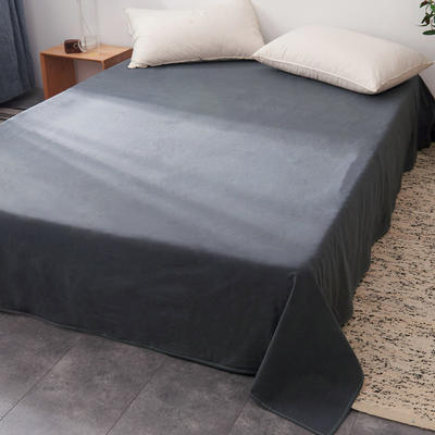 2019新款水洗棉单床单全棉色织无印良品同步新款花色 240cmx250cm 细条纹-黑灰色