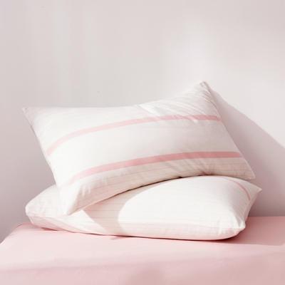 2019新款水洗棉全棉色织无印良品同步新款花色单枕套 48cmX74cm一只 粉白细条