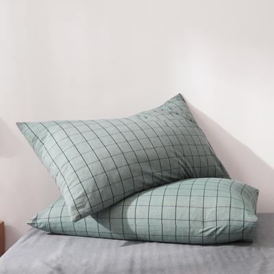 2019新款水洗棉全棉色织无印良品同步新款花色单枕套 48cmX74cm一只 格纹-豆绿