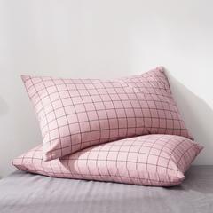 2019新款水洗棉全棉色织无印良品同步新款花色单枕套 48cmX74cm一只 格纹-豆沙
