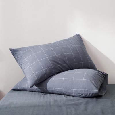 2019新款水洗棉全棉色织无印良品同步新款花色单枕套 48cmX74cm一只 格纹-冷灰