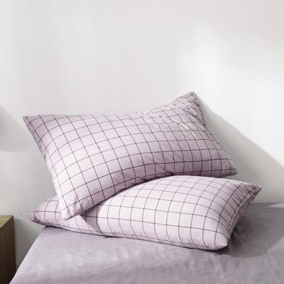 2019新款水洗棉全棉色织无印良品同步新款花色单枕套 48cmX74cm一只 格纹-浅紫