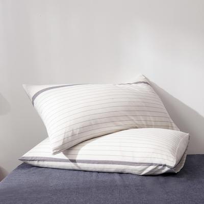 2019新款水洗棉全棉色织无印良品同步新款花色单枕套 48cmX74cm一只 灰白细条