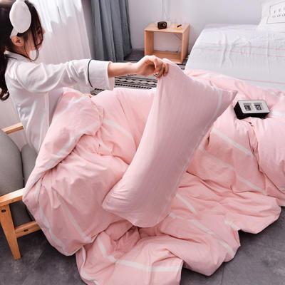 2019新款水洗棉全棉色织无印良品同步新款花色单枕套 48cmX74cm一只 宽双线-粉白条