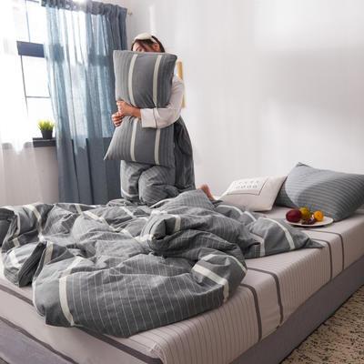 2019新款水洗棉全棉色织无印良品同步新款花色单枕套 48cmX74cm一只 宽双线-灰白条