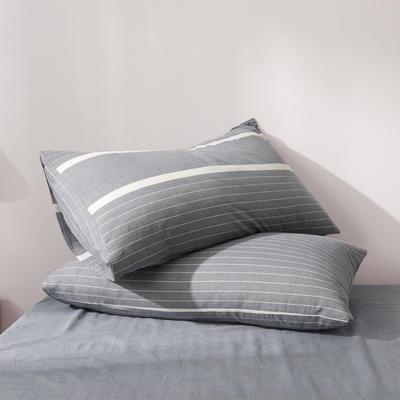 2019新款水洗棉全棉色织无印良品同步新款花色单枕套 48cmX74cm一只 宽双线-冷灰