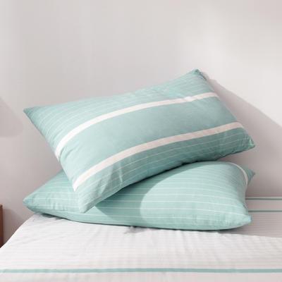 2019新款水洗棉全棉色织无印良品同步新款花色单枕套 48cmX74cm一只 宽双线-绿白条