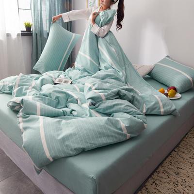 2019新款水洗棉全棉色织无印良品同步新款花色单枕套 48cmX74cm一只 宽双线-浅绿