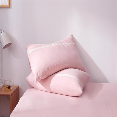 2019新款水洗棉全棉色织无印良品同步新款花色单枕套 48cmX74cm一只 宽双线-玉