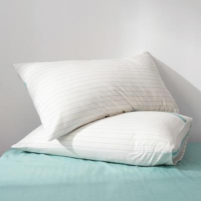 2019新款水洗棉全棉色织无印良品同步新款花色单枕套 48cmX74cm一只 绿白细条
