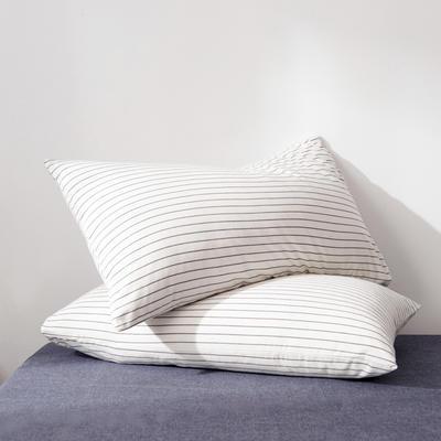 2019新款水洗棉全棉色织无印良品同步新款花色单枕套 48cmX74cm一只 细条纹-白色