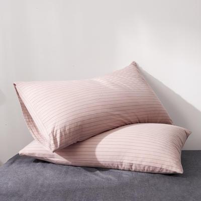 2019新款水洗棉全棉色织无印良品同步新款花色单枕套 48cmX74cm一只 细条纹-豆沙