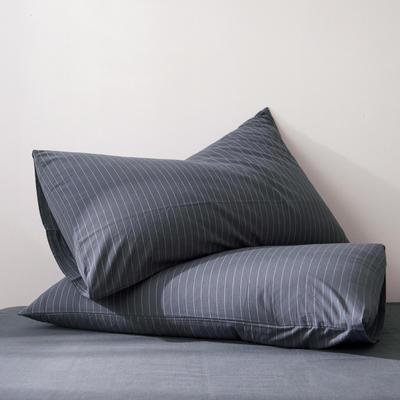 2019新款水洗棉全棉色织无印良品同步新款花色单枕套 48cmX74cm一只 细条纹-黑灰色