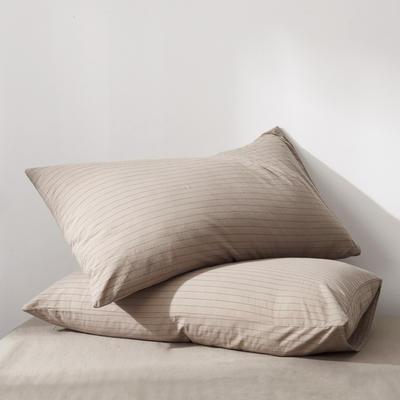 2019新款水洗棉全棉色织无印良品同步新款花色单枕套 48cmX74cm一只 细条纹-驼色