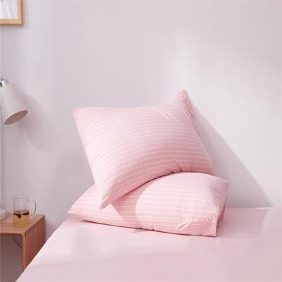 2019新款水洗棉全棉色织无印良品同步新款花色单枕套 48cmX74cm一只 细条纹-玉色