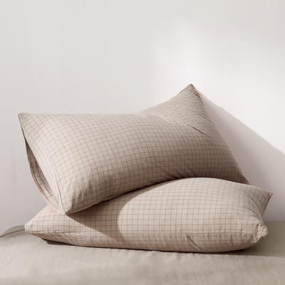 2019新款水洗棉全棉色织无印良品同步新款花色单枕套 48cmX74cm一只 小格纹-驼色