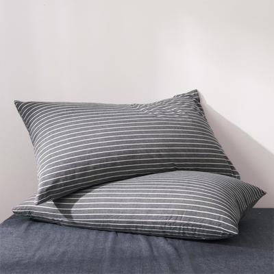 2019新款水洗棉全棉色织无印良品同步新款花色单枕套 48cmX74cm一只 中条纹-深灰色