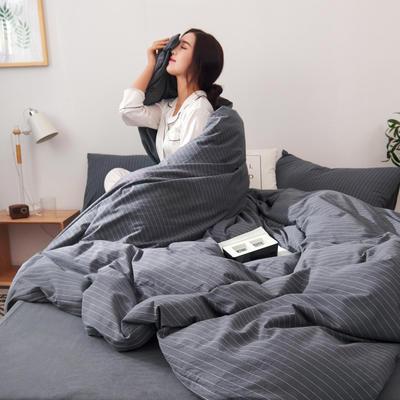 2019新款水洗棉四件套全棉色织无印良品同步新款花色 1.2m床(床笠款) 细条纹-黑灰色