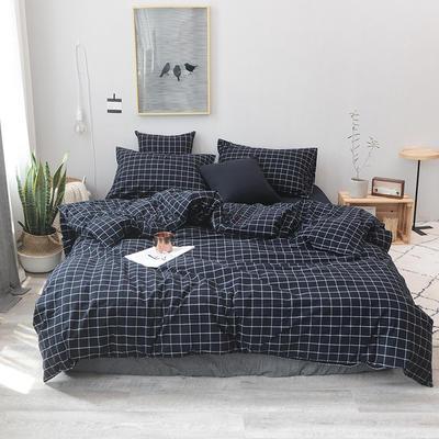 2019新款水洗棉四件套全棉色织无印良品同步新款花色 1.2m床(床单款) 藏青方格