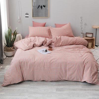 2019新款水洗棉四件套全棉色织无印良品同步新款花色 1.2m床(床单款) 橙红小格