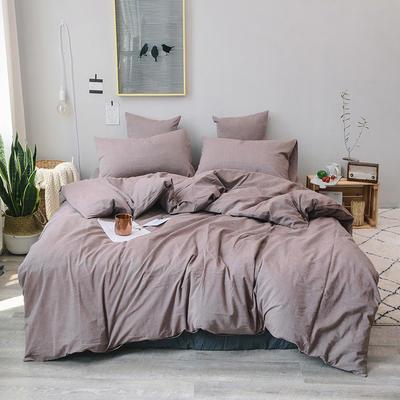 2019新款水洗棉四件套全棉色织无印良品同步新款花色 1.2m床(床单款) 豆沙咖