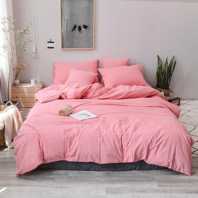 2019新款水洗棉四件套全棉色织无印良品同步新款花色 1.2m床(床笠款) 粉红色