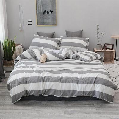 2019新款水洗棉四件套全棉色织无印良品同步新款花色 1.2m床(床笠款) 灰白条