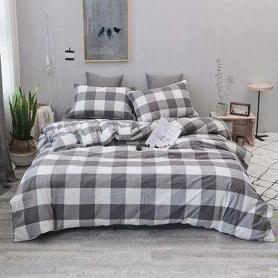 2019新款水洗棉四件套全棉色织无印良品同步新款花色 1.2m床(床笠款) 灰白中格