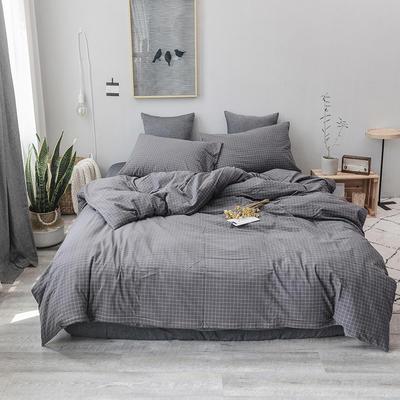 2019新款水洗棉四件套全棉色织无印良品同步新款花色 1.2m床(床笠款) 灰小格