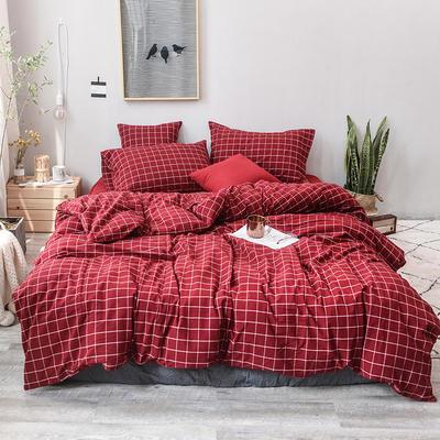 2019新款水洗棉四件套全棉色织无印良品同步新款花色 1.2m床(床笠款) 酒红方格