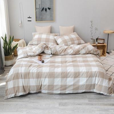 2019新款水洗棉四件套全棉色织无印良品同步新款花色 1.2m床(床笠款) 咖白中格