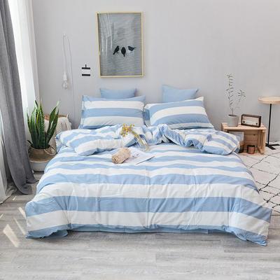 2019新款水洗棉四件套全棉色织无印良品同步新款花色 1.2m床(床笠款) 蓝白条
