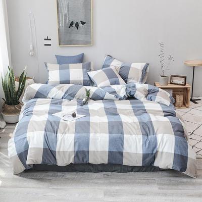 2019新款水洗棉四件套全棉色织无印良品同步新款花色 1.5m床(床单款) 蓝大格