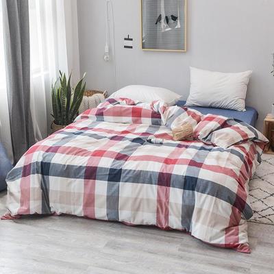 2019新款水洗棉四件套全棉色织无印良品同步新款花色 1.2m床(床笠款) 蓝红中格