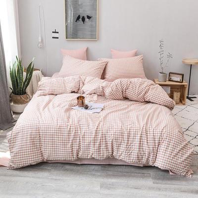 2019新款水洗棉四件套全棉色织无印良品同步新款花色 1.2m床(床笠款) 蜜粉小格