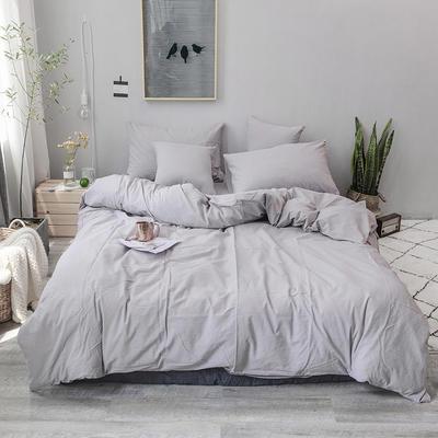 2019新款水洗棉四件套全棉色织无印良品同步新款花色 1.2m床(床笠款) 浅灰色