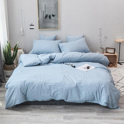 2019新款水洗棉四件套全棉色织无印良品同步新款花色 1.2m床(床笠款) 浅水蓝