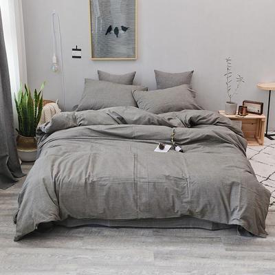 2019新款水洗棉四件套全棉色织无印良品同步新款花色 1.2m床(床笠款) 绅士灰