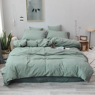 2019新款水洗棉四件套全棉色织无印良品同步新款花色 1.2m床(床笠款) 一抹绿