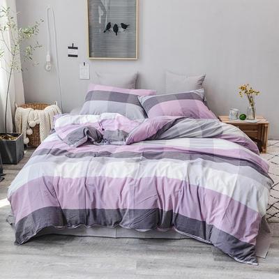 2019新款水洗棉四件套全棉色织无印良品同步新款花色 1.2m床(床笠款) 紫灰中格