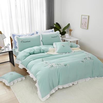 2019新款网红花边水洗棉四件套 1.2米床单款三件套 冰绿